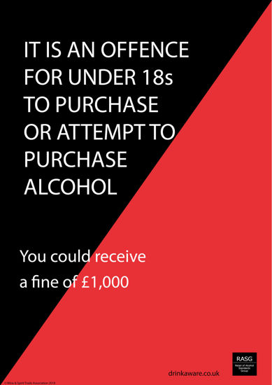 Picture of Challenge 25 for Underage Purchasing Warning Poster - England. V2