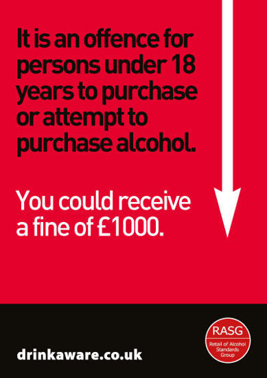 Picture of Challenge 25 for Underage Purchasing Warning Poster -England