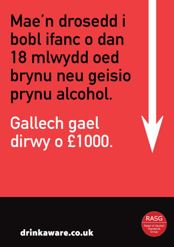 Picture of Challenge 25 for Underage Purchasing Warning Poster (Welsh Language)