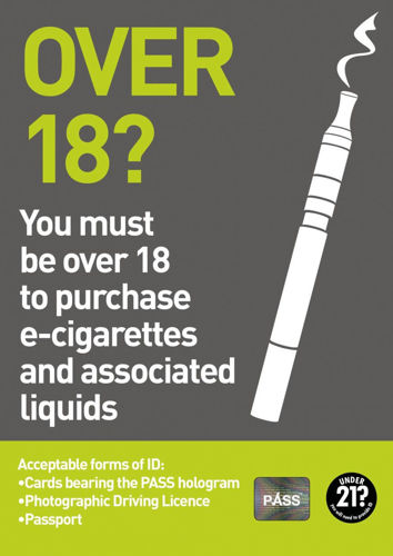 Picture of Over 18 to purchase E-Cigarette Poster