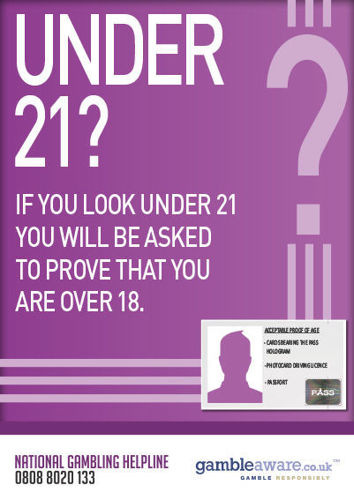 Picture of Under 21? 'Look Under 21' Gambling Warning Poster