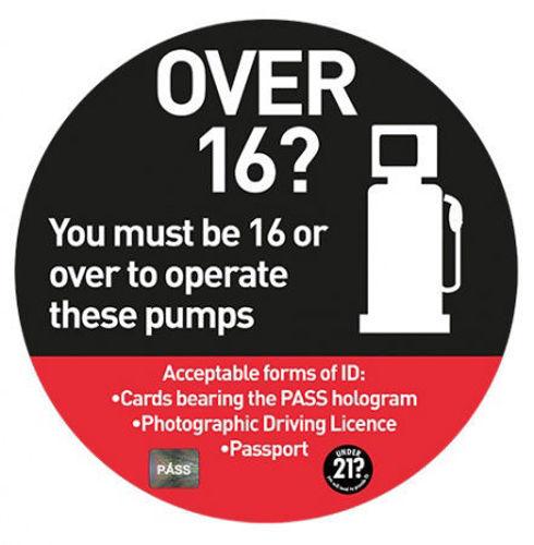 Picture of Over 16? Operate Petrol Pump STICKER