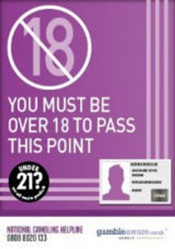 Picture of Over 18 To Pass This Point - Gambling STICKER