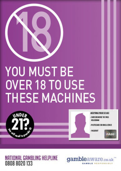 Picture of Over 18 To Use These Machines - Gambling STICKER