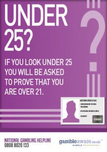 Picture of Under 25 - Ask For ID - Gambling STICKER