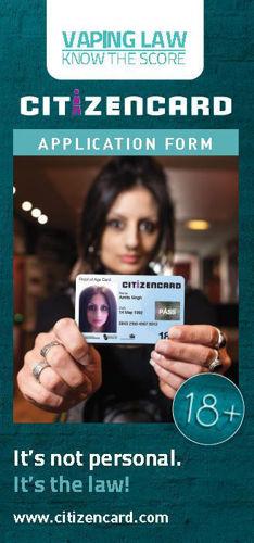18+ Vape Citizencard Leaflets - Design Front - Age Check Certification Scheme