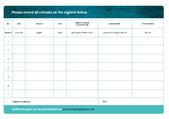 18 + Vape - Refusal Register Page - Design - Age Check Certitication Scheme