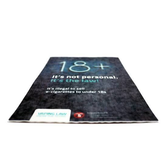 18 + Vape - Window Sticker - Real Photo - Age Check Certification Scheme
