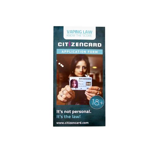 18+ Vape Citizencard Leaflets - Front - Age Check Certification Scheme