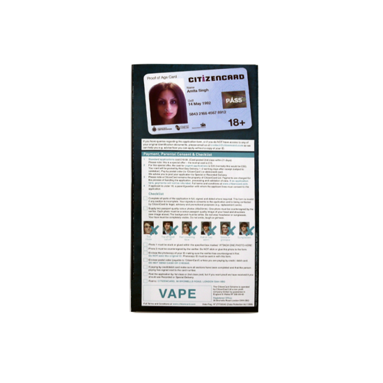 18+ Vape Citizencard Leaflets - Verse - Age Check Certification Scheme