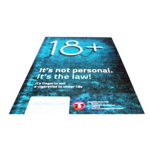 18 + Vape - Poster -  Age Check Certitication Scheme
