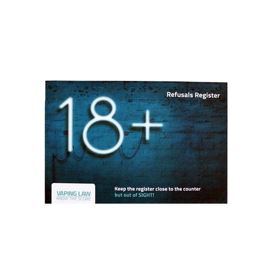 18 + Vape - Refusal Register Front -  Age Check Certitication Scheme