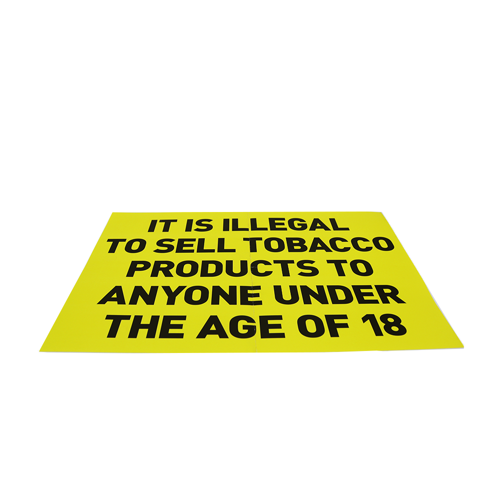 Tobacco Statutory Notice - Yellow sign - Age Check Certification Scheme
