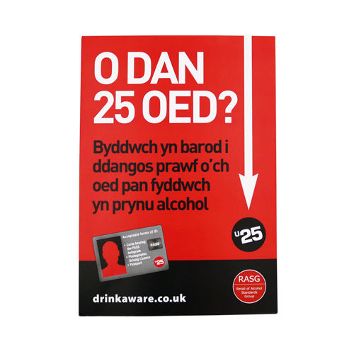 Challenge 25 for Alcohol Retailers Poster - Welsh Language - Age Check Certification Scheme